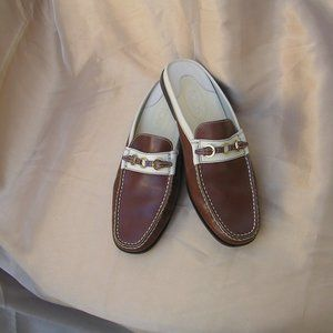 TOD'S MULES- Two Tone Slip On Leather Loafers-SZ40